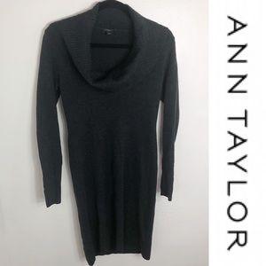 ⚡️ Ann Taylor Dark Grey Cowl Neck Sweater Dress XS